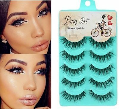 5 Pairs  Natural Long Thick Handmade Makeup Fake False Eyelashes Eye Lashes