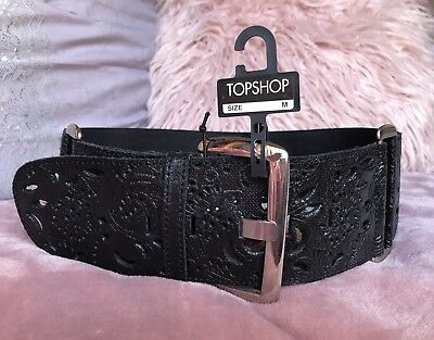 Topshop Black Waist Belt With Tooled Leather & Silver Buckle- NEW