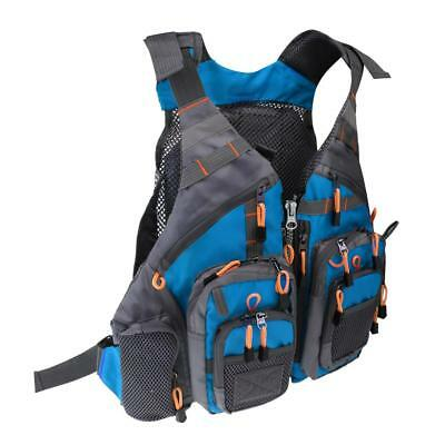 Fly Fishing Backpack Chest Bag Vest Backpack Outdoor Adjustable Size Blue