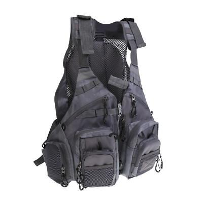 Fly Fishing Backpack Chest Bag Vest Backpack Outdoor Adjustable Size Gray