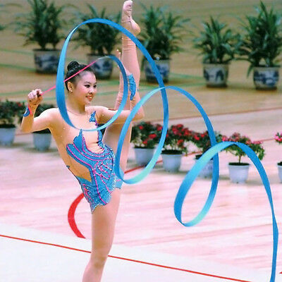 Dance Ribbon Gym Rhythmic Art Gymnastic Ballet Streamer Twirling Rod 9 Colors