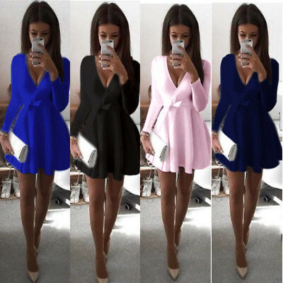 UK Summer Women's Bandage Bodycon Long Sleeve Evening Sexy Party Cocktail Mini