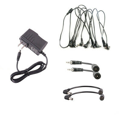 9V Guitar Effect Pedal Power Supply Combo US Adapter 8 Way Cable & Converter