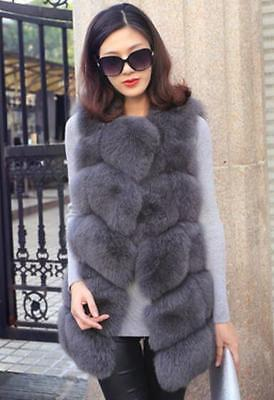Natural Fur Vest Women Fashion Gilet Ladies Long Jacket Coat E455