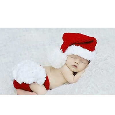 Cute Crochet Christmas Santa Costume Hat+Pants Newborn Baby Photo Props