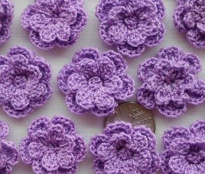 10 pcs - Lovely 2.5cm PURPLE Crochet Double Layer Flowers - Gorgeous