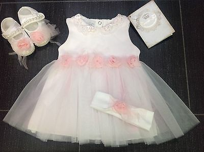 Girls Couche Tot Designer 3Pc Dress, Booties & Headband Set Bnwt