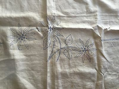 Unfinished embroidery / traced linen Semco table cloth - poinsettias