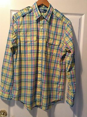 FREE POST Ralph Lauren Polo cotton long sleeve checked shirt size M