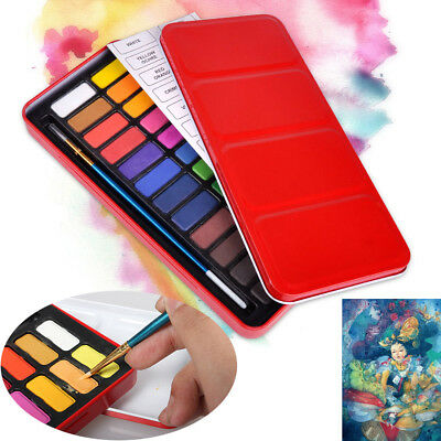24 Colors Solid Watercolor Paint Pigments Set w/ Paintbrush Artist Painting Tool