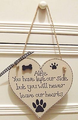 Handmade Personalised Dog Memorial Remembrance Heart Plaque Sign Keepsake Gift