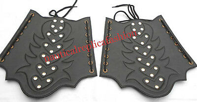 MEDIEVAL Leather Arm Guard Black Leather FINISH Wearable Armor ROMAN Arm Guard