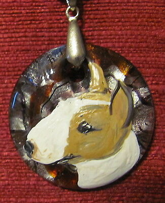 Minature Bull Terrier hand painted on round Murano glass pendant/bead/necklace