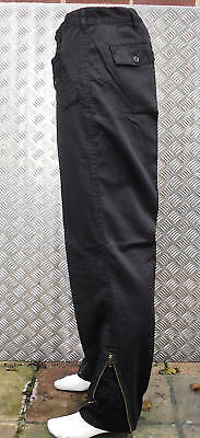 """Black Italian Style Army Trousers. Knee Pads and Zips. Size 34"""" - NEW"""