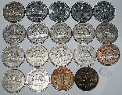 Canada 1937-1952  5 Cents Complete 19 coin set Canadian Nickel Lot #L98