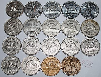 Canada 1937-1952  5 Cents Complete 19 coin set Canadian Nickel Lot #L99