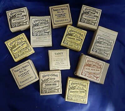 12 Antique Packets Medicinal Herb Old Pharmacy Apothecary Botanic Drug Stock Lot