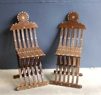 Wonderfull Pair of Moroccan Carved and Inlay Folding Chairs, 19th Century