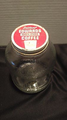 """1940s  """"Edwards"""" Instant Coffee with Lid Duraglas (B59) * Carlsbad Colo.*"""
