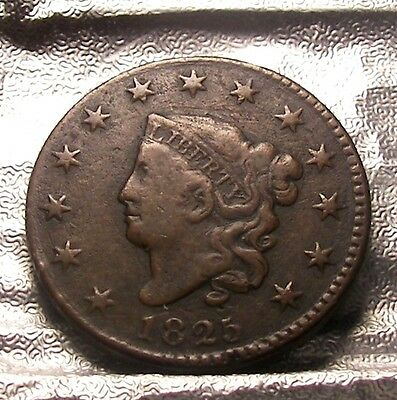 1825 CORONET HEAD LARGE CENT  Free Shipping fr-1
