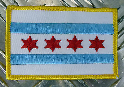 Genuine US Chicago Police City Flag Iron-on American patch 4 star 2 bar   - NEW