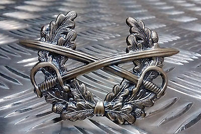 Genuine German Forces Cap Metal Badge Crossed Swords Laurel  Military