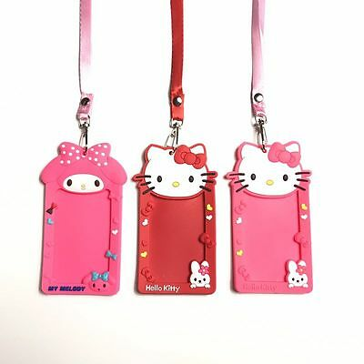 Cartoon Hellokitty Melody Card Case ID Card Holder Badge Red/Pink Neck Strap