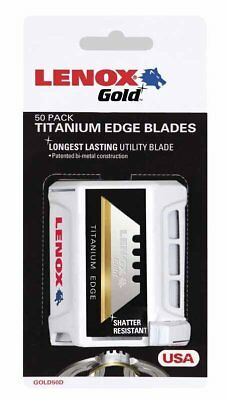 Lenox 20351-GOLD50D Bi-Metal Utility Knife Blade, 50/Pack