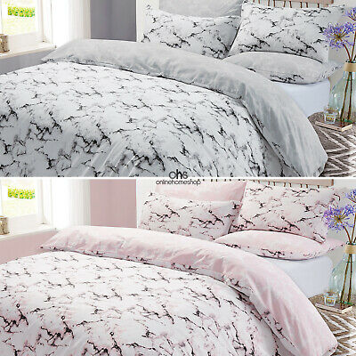Marble Duvet Cover with Pillow Case Bedding Set Single Double King Superking NEW