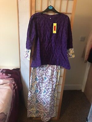 Batik Purple Skirt And Top From Indonesia. New With Tags, Sz Small