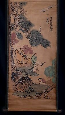 Awesome Rare Chinese Scroll Hand Painting Figures Marks KK627