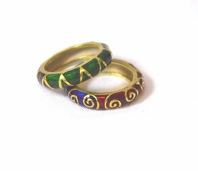 2Pcs. 18K Gold Ring Emerald,saphire & Ruby Enamel Multicolor Size 5.5 On Sale