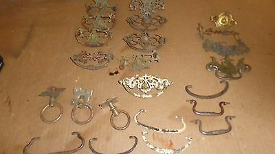 Antique 23 LOT Ornate Victorian Vintage Tin Brass Furniture Drawer pulls~Mixed