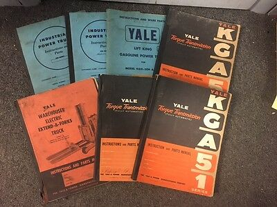 Lot of 7 Vintage Yale & Towne Instructions and Parts Manuals torque transmission