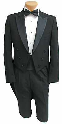 Black Wool Satin Peak Lapel Tuxedo Tailcoat Formal Wedding Dickens Christmas