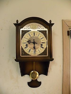 """Antique West German """"linden"""" Triple Chime Hanging Wall Clock Clean And Running"""
