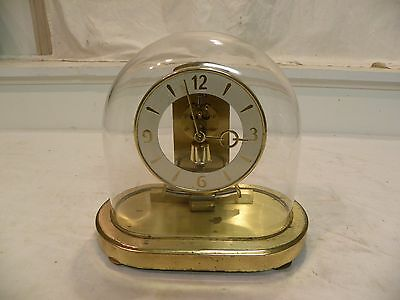 Antique Kundo Electronic Mystery Clock Under Glass Dome Circa 1950 Looks Good