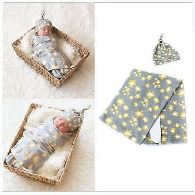 Newborn Swaddle and Hat Baby Boy Girl Set of 2