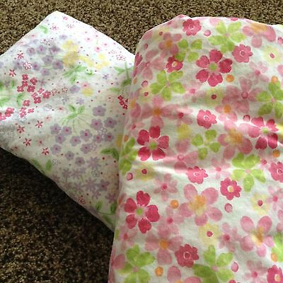 lot/2 Pottery Barn Kids floral crib sheets NEW