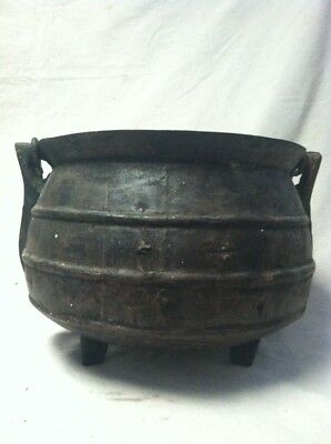 Very Old Forged Iron Cauldron Pot Kettle
