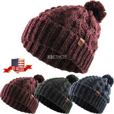 a690cc2a8ce58 CLEARANCE SALE!! UNISEX Wool Blend Pom Pom Cable Knit Beanie Winter ...