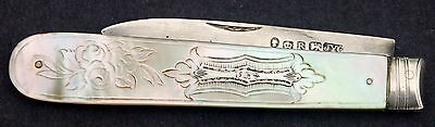 Antique Hallmarked Victorian Sterling Silver Fruit Knife w Mother of Pearl Hndls