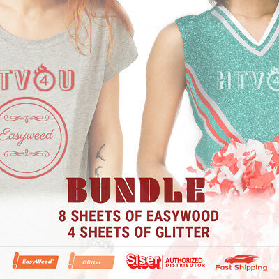"Siser Bundle - 8 Sheets (15""x12"") of EasyWeed and 4 Sheets (20""x12"") of Glitter"