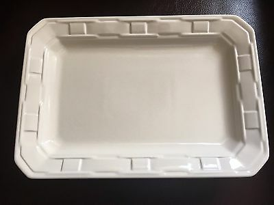 Longaberger Pottery Woven Tradition 9x13 Ivory Rectangle Serving Platter NEW