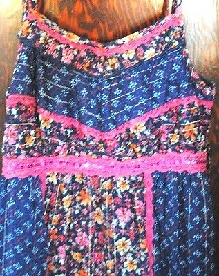 Justice Girls Maxi Dress 16 Blue Floral Hippie Summer Fall School Size Tween XL