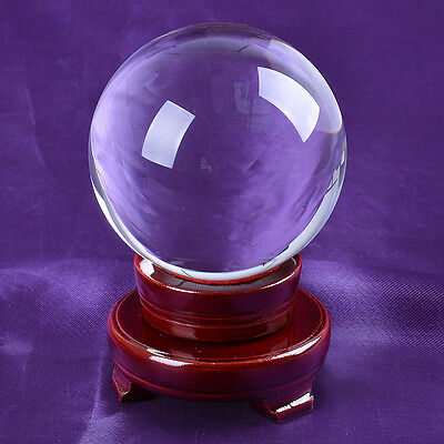 LONGWIN 80mm Quartz Crystal Ball Sphere Photo Props Solid Color Free Stand Gift