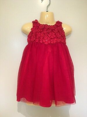 Baby Girls Red Flower Top Mesh Party Dress Size 1-2, 12 -18 Months AS NEW