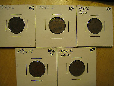 Lot of 5 each 1941-C NEWFOUNDLAND ONE CENT, 1 VG, 2 VF, 2 VF+