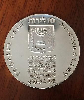 Israel 1973 Silver 10 Lirot Medal coin medallion 25th Anniversary of Independenc