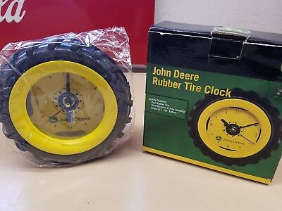 """John Deere - Real Rubber Tire Clock - Wall Mounted or Free Standing - 6 1/4"""""""